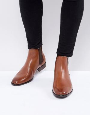ALDO Светло-коричневые кожаные ботинки челси. Цвет: рыжий