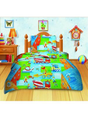 Комплект постельного белья Кошки-Мышки. Цвет: голубой, салатовый