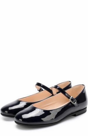 Лаковые туфли с ремешками Il Gufo. Цвет: синий