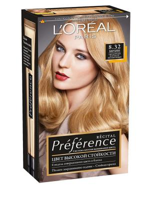 Стойкая краска для волос Preference, оттенок 8.32, Берлин L'Oreal Paris. Цвет: золотистый, черный