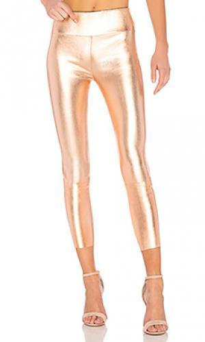 Кожаные легинсы high waist 3/4 SPRWMN. Цвет: металлический медный