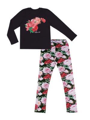 Комплект: лонгслив, леггинсы Мелодия цветов Апрель. Цвет: черный, розовый