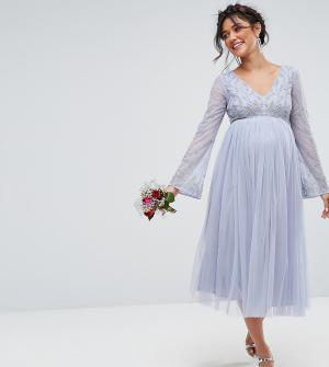 Maya Maternity Декорированные платье с длинными рукавами и юбкой из тюля Materni. Цвет: синий
