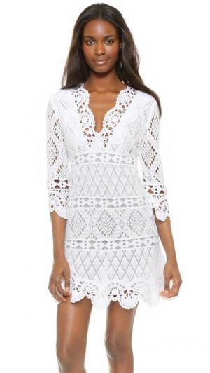 Связанное крючком платье Temptation Positano. Цвет: белый
