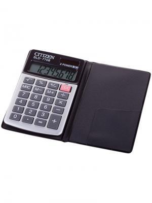 Калькулятор карманный SLD-322BK 8 разрядов, двойное питание, 64*105*9 мм, белый/черный CITIZEN. Цвет: черный, белый