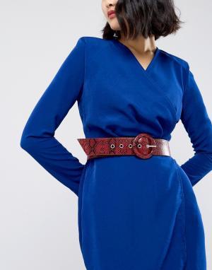 Glamorous Ремень для джинсов с эффектом змеиной кожи. Цвет: красный