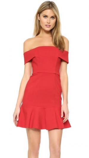 Мини-платье с открытыми плечами N/ Nicholas. Цвет: красный