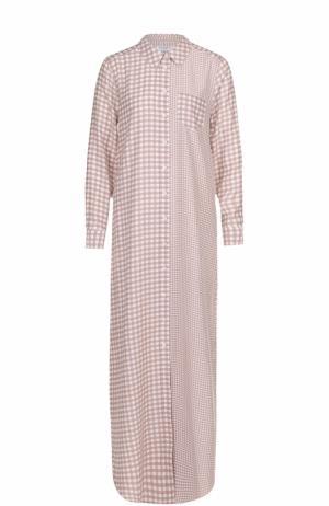 Шелковое платье-рубашка в клетку Equipment. Цвет: бежевый
