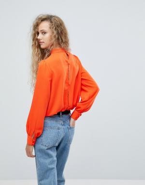 Love Черная блузка на пуговицах. Цвет: оранжевый