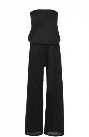 Приталенный комбинезон-бюстье с поясом и карманами Back Label. Цвет: черный