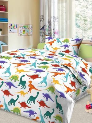 Детский комплект постельного Динно, 1,5-спальный, наволочка 50*70, хлопок Letto. Цвет: белый, зеленый, голубой, красный