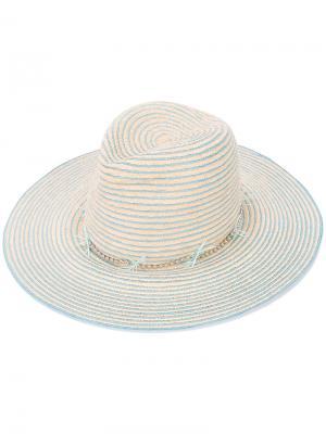 Шляпа в полоску Gigi Burris Millinery. Цвет: телесный
