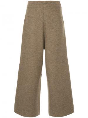Широкие укороченные брюки Cityshop. Цвет: коричневый