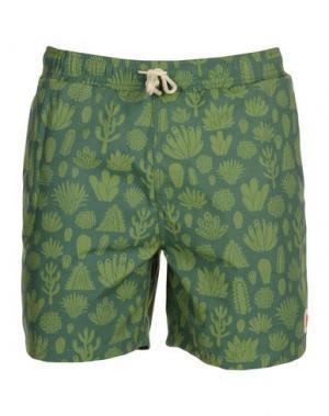 Пляжные брюки и шорты MOLLUSK. Цвет: зеленый-милитари
