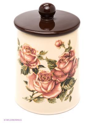 Банка для сыпучих продуктов Розы LORAINE. Цвет: коричневый, бежевый
