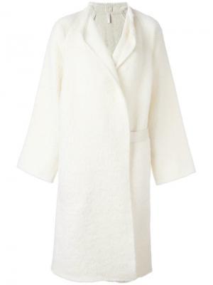 Пальто средней длины с поясом Helmut Lang. Цвет: белый