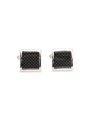 Запонки квадратные классические с эмалью Churchill accessories. Цвет: серебристый