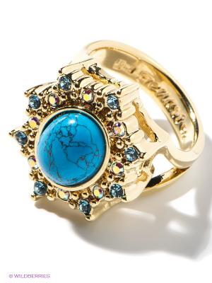 Кольцо Jenavi. Цвет: голубой, золотистый