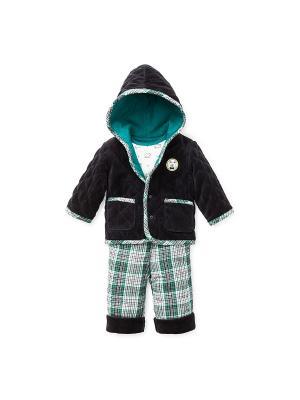 Комплект велюровый из 3-х предметов Лесничок Little Me. Цвет: белый, черный, зеленый