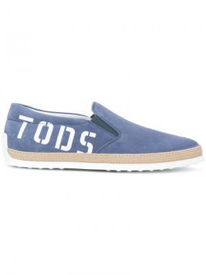 Эспадрильи с принтом-логотипом  Tods Tod's. Цвет: синий