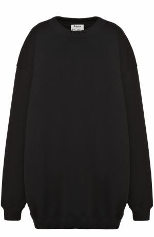 Удлиненный свитшот свободного кроя с круглым вырезом Acne Studios. Цвет: черный