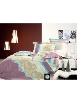 Постельное белье Евро, сатин в подарочн.уп. Tiffany's secret. Цвет: бежевый, розовый, белый, голубой