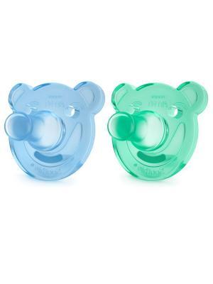 Цельно-силиконовые пустышки Philips Avent Мишка SCF194/01, 2 шт, 0-3 мес.. Цвет: голубой, зеленый