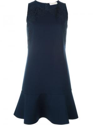 Платье с цветочной аппликацией Tory Burch. Цвет: синий