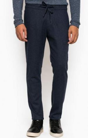 Трикотажные зауженные брюки на шнуре DRYKORN. Цвет: синий