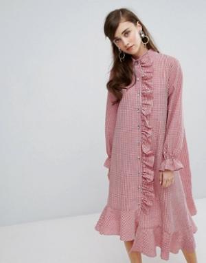Sister jane Асимметричное платье-рубашка в клеточку. Цвет: красный