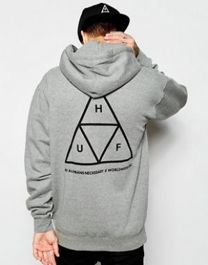 HUF Худи с тремя треугольниками. Цвет: серый