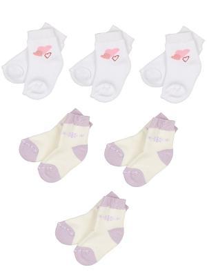 Носки детские махровые ,комплект 6 пар Malerba. Цвет: сиреневый, белый