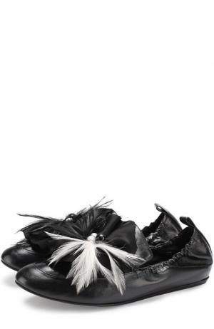 Кожаные слиперы с декоративной отделкой Lanvin. Цвет: черный