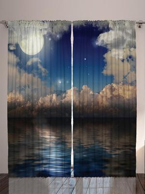 Комплект фотоштор Зелёные ели над озером, Луна в облаках, ракушка и морская пена, 290*265 см Magic Lady. Цвет: темно-бежевый