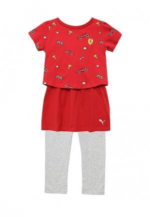 Комплект леггинсы и платье Puma. Цвет: разноцветный