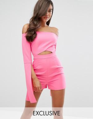 Dark Pink Ромпер с вырезом и большими рукавами. Цвет: розовый