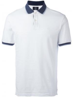 Рубашка-поло с контрастной отделкой Hackett. Цвет: белый