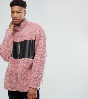 ASOS Свободная спортивная куртка из искусственной цигейки TALL. Цвет: розовый