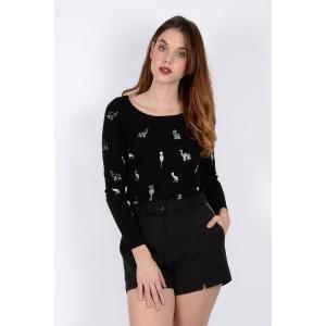 Пуловер из тонкого трикотажа без воротника MOLLY BRACKEN. Цвет: черный