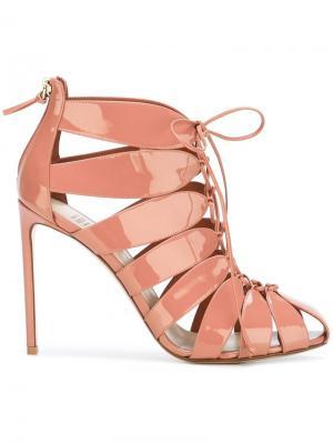 Strappy lace up sandals Francesco Russo. Цвет: розовый и фиолетовый