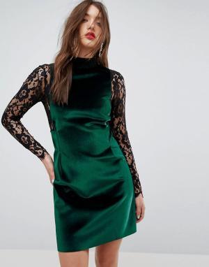 ASOS Платье мини с длинными рукавами из бархата и кружева. Цвет: зеленый
