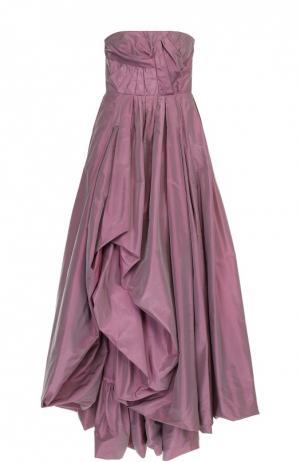 Шелковое платье-бюстье с подолом и драпировкой Oscar de la Renta. Цвет: светло-розовый