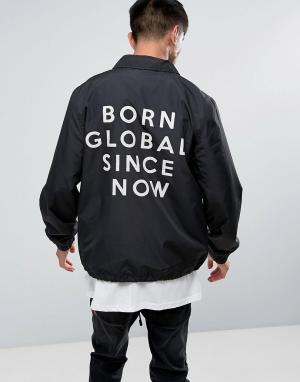 Night Addict Спортивная куртка с вышивкой на спине. Цвет: черный