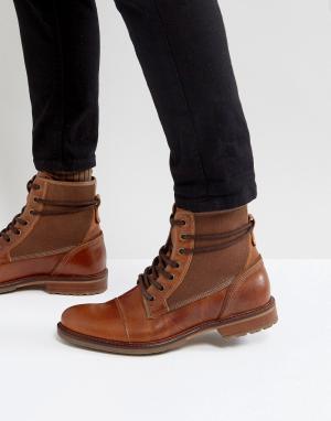 ALDO Светло-коричневые кожаные ботинки на шнуровке Gweawien. Цвет: рыжий