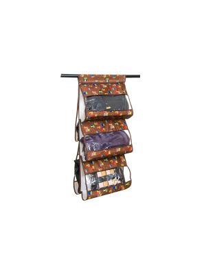 Кофр подвесной для сумок Совы на ветках коричневом EL CASA. Цвет: коричневый, красный, синий