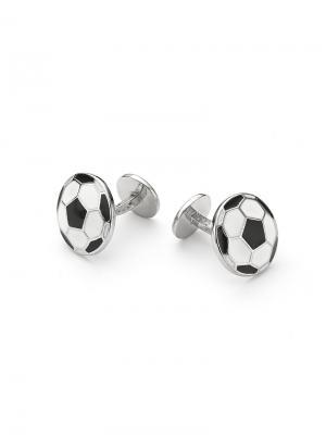 Мужские запонки Футбольный мяч KU&KU. Цвет: черный, белый, серебристый