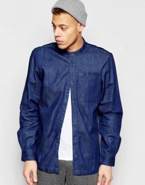 Waven Синяя джинсовая рубашка классического кроя с воротником на пуговице Wa. Цвет: синий