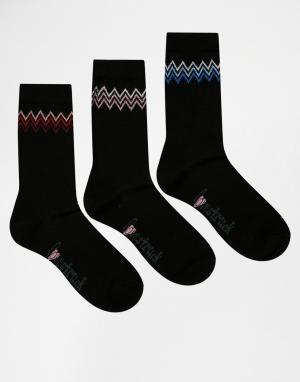 Lovestruck 3 пар черных носков с принтом зигзаг. Цвет: черный