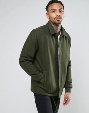 ASOS Полушерстяная спортивная куртка цвета хаки. Цвет: зеленый