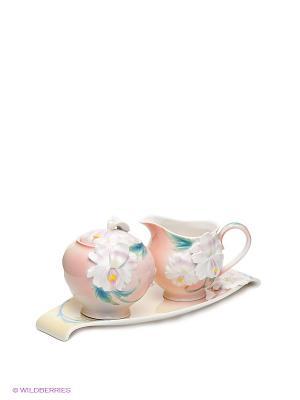 Набор: сахарница и молочник Сальпиглоссис Pavone. Цвет: бледно-розовый, желтый